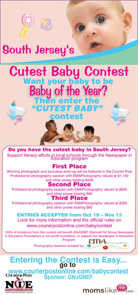 cutest baby contest,  south jersey cutest baby contest, NIE,  Newspapers in Education,  Baby Photographer, NJ Baby Photographer, South Jersey Baby Photography